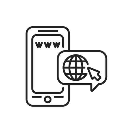 Browser mobile application in smartphone black line icon. Pictogram for web page, mobile app, promo. UI UX GUI design element. Editable stroke. Illusztráció