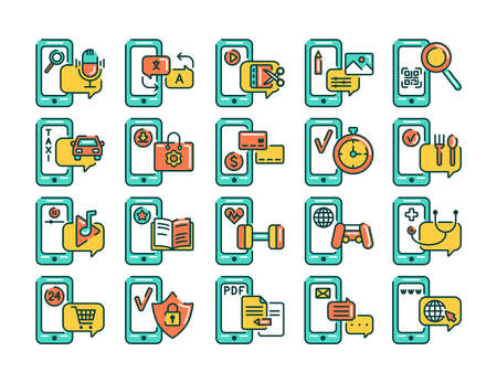 Mobile applications in smartphone color line icons set. Pictograms for web page, mobile app, promo. UI UX GUI design element. Editable stroke.