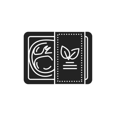 Plant-based meat in packaging black glyph icon. Packaged meat made from plants. Pictogram for web page, mobile app, promo. UI UX GUI design element Illusztráció