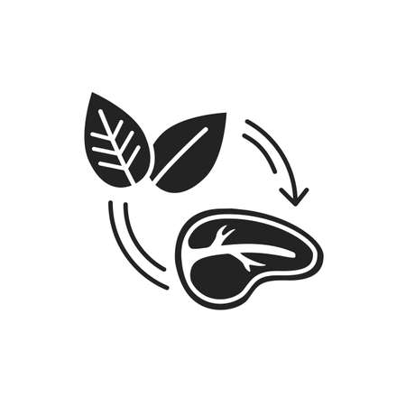 Plant-Based Meat black glyph icon. Meat made from plants. Designed and created to look like, taste like, and cook like conventional meat. Pictogram for web page, mobile app, promo 向量圖像