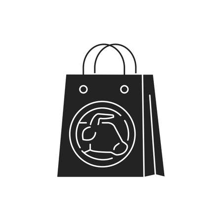 Purchase of artificial meat black glyph icon. Buying a cultured meat. Paper bag. Can be done in the supermarket. Pictogram for web page, mobile app, promo. UI UX GUI design element