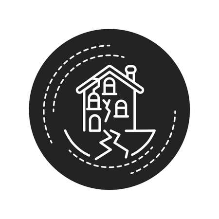 Earthquake black glyph icon on white background. Seismic activity. Tremors. Pictogram for web page, mobile app, promo. UI UX GUI design element