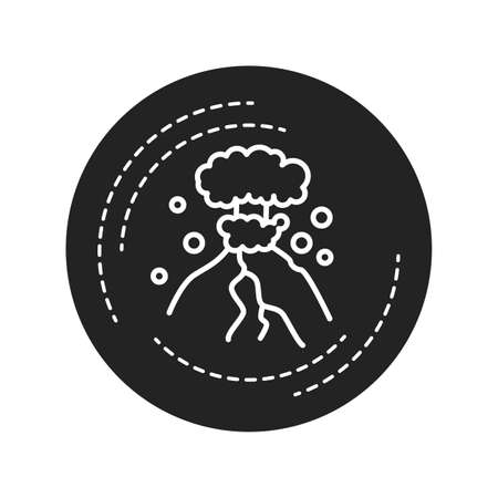 Eruption black glyph icon on white background. The outpouring of magma. Ejection of ash. Pictogram for web page, mobile app, promo. UI UX GUI design element Иллюстрация