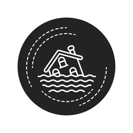 Flood black glyph icon. An overflow of water that submerges land that is usually dry. Pictogram for web page, mobile app, promo. UI UX GUI design element Ilustração