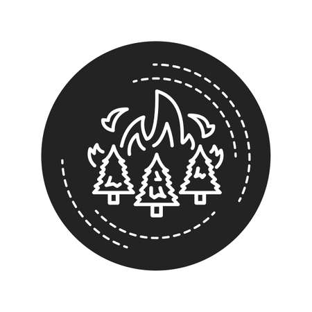 Forest fires black glyph icon. Start from natural causes such as lightning, high atmospheric temperatures and dryness. Pictogram for web page, mobile app, promo. UI UX GUI design element Illusztráció