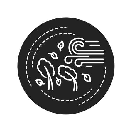 Hurricane black glyph icon. A large rotating storm with high speed winds that forms over warm waters in tropical areas. Pictogram for web page, mobile app, promo. UI UX GUI design elem.
