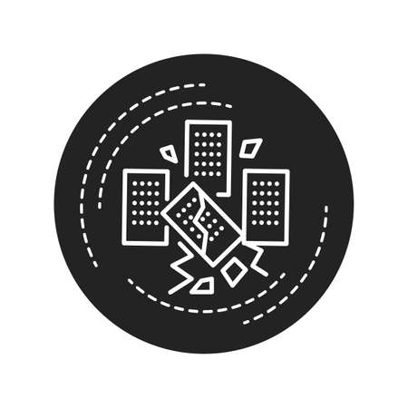 Landslide black glyph icon. Defined as the movement of a mass of rock, debris, or earth down a slope. Pictogram for web page, mobile app, promo. UI UX GUI design element