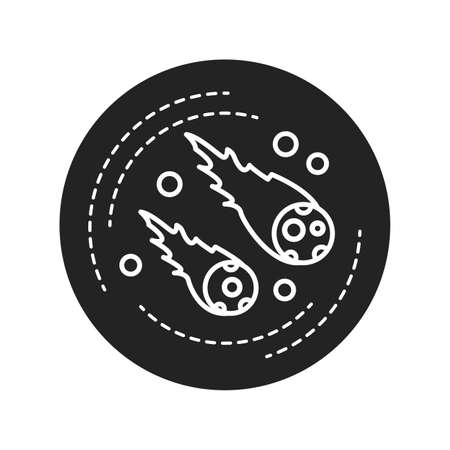 Meteor falling black glyph icon. The visible passage of a glowing meteoroid, micrometeoroid, comet or asteroid through Earth's atmosphere. Pictogram for web page, mobile app, promo
