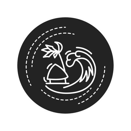 Tsunami black glyph icon. A series of waves caused by earthquakes or undersea volcanic eruptions. Pictogram for web page, mobile app, promo. UI UX GUI design element Illusztráció