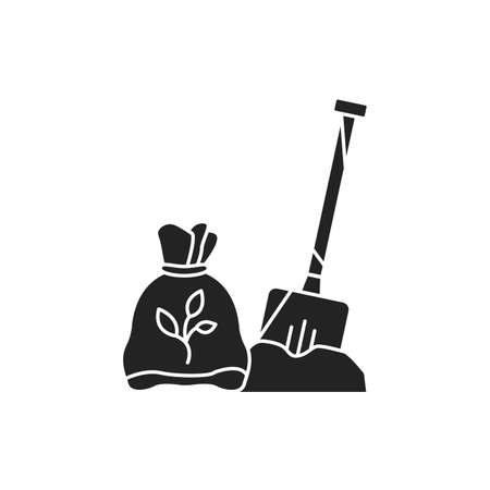 Balanced fertilizer black glyph icon. A fertilizer which has three numbers which are about the same, like a 10-10-10. Pictogram for web page, mobile app, promo. UI UX GUI design element Illusztráció