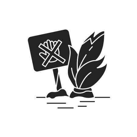 Don t move plants black glyph icon. A plate that shows that it is forbidden to touch and pick plants. Pictogram for web page, mobile app, promo. UI UX GUI design element