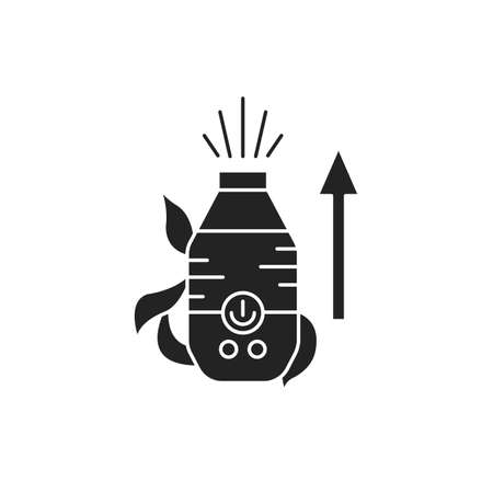 Increase the humidity in room black glyph icon. The process of creating more comfortable conditions for plants. Pictogram for web page, mobile app, promo. UI UX GUI design element Illusztráció