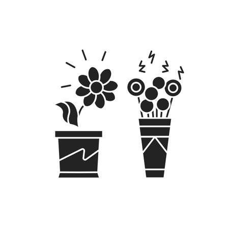 Living plants vs artificial black glyph icon. A real plant needs care. Artificial can live forever without care. Pictogram for web page, mobile app, promo. UI UX GUI design element