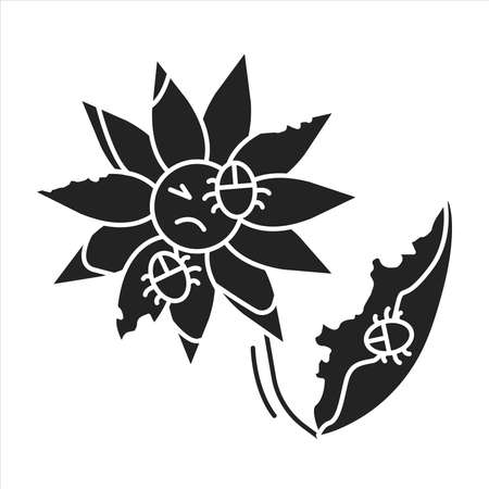 Pests and diseases in flower black glyph icon. Bacterias that destroy and kill the plant. Pictogram for web page, mobile app, promo. UI UX GUI design element