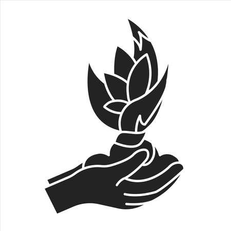 Plant care black glyph icon. Complex of care procedures for plant rotation. Pictogram for web page, mobile app, promo. UI UX GUI design element Illusztráció