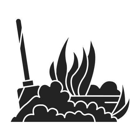 Soil fluffing black glyph icon. The process of preparing the soil for planting. Pictogram for web page, mobile app, promo. UI UX GUI design element Illusztráció
