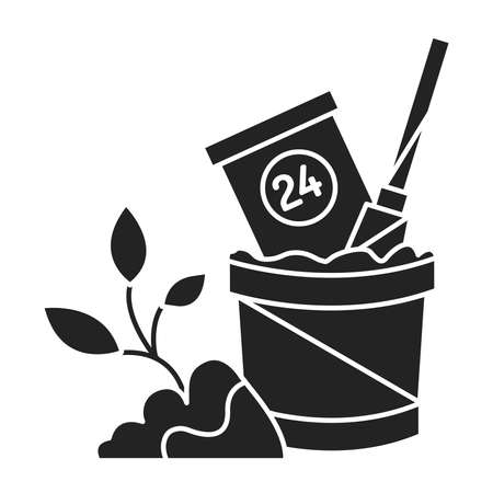 Timely Repotting black glyph icon. Transplanting plants at certain times. Pictogram for web page, mobile app, promo. UI UX GUI design element