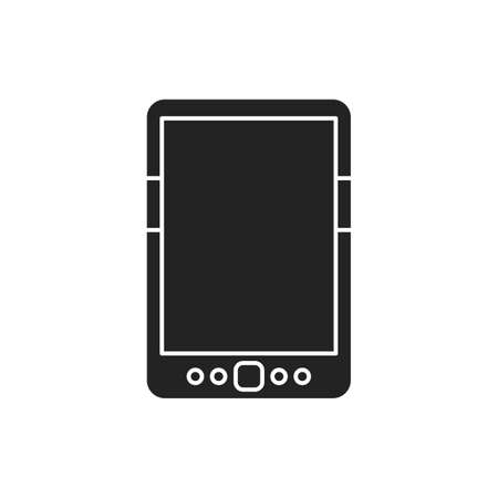 Digital tablet black glyph icon. Innovation technology. E-learning reading on electronic touch screen. Pictogram for web page, mobile app, promo. UI UX GUI design element Illusztráció