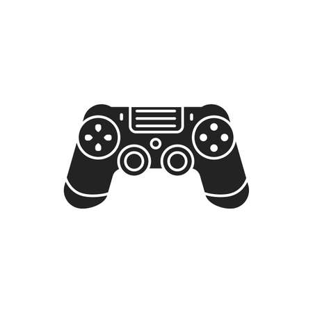 Joystick black glyph icon. Input device. Control a character or machine in a computer program, such as a plane in a flight simulator. Pictogram for web page, mobile app, promo