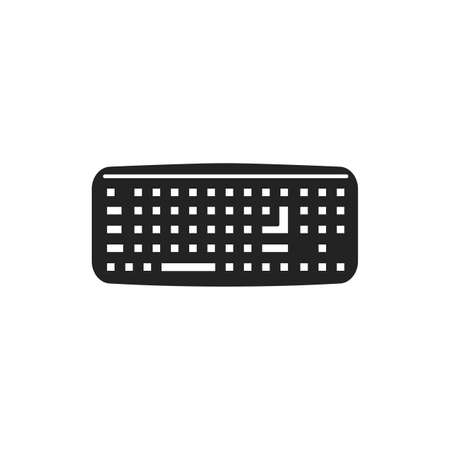 Keyboard black glyph icon. Input device. Allows a person to enter letters, numbers, and other symbols. Pictogram for web page, mobile app, promo. UI UX GUI design element
