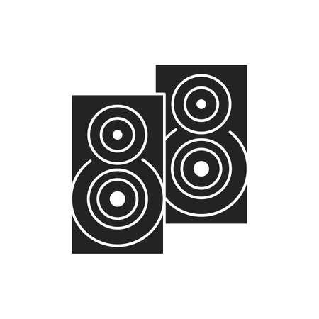 Music column audio speakers glyph black icon. Stereo music sound system cinema column. Party element. Sign for web page, mobile app, banner, social media. Pictogram UI UXI user interface