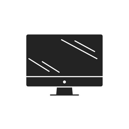 Computer display black glyph icon. Front view. Electronic device. Pictogram for web page, mobile app, promo Ilustração