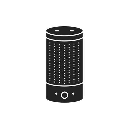 Smart speaker glyph black icon. Personal voice assistance, talk recognition. Sign for web page, mobile app, button