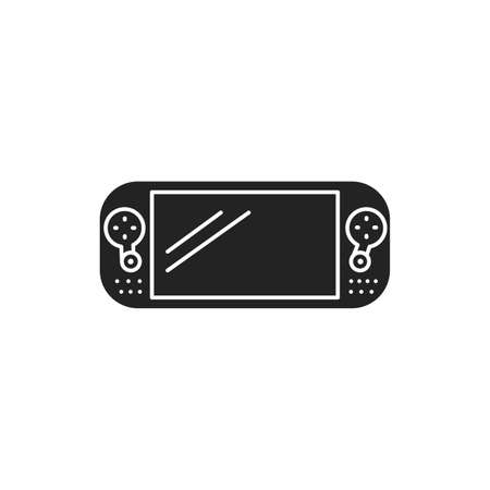Game console portable black glyph icon. Electronic device. Gaming concept. Pictogram for web page, mobile app, promo