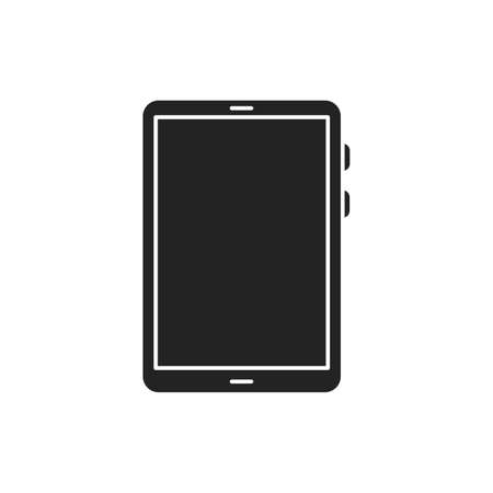 Tablet computer black glyph icon. Front view. Electronic device. Pictogram for web page, mobile app, promo Ilustração