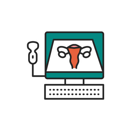 Ultrasonic diagnostic female reproductive system line color icon. Medical checkup. Sign for web page, mobile app, button Illustration