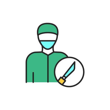 Surgeon color line icon. Subject matter expert. Pictogram for web page, mobile app, promo. UI UX GUI design element. Editable stroke.