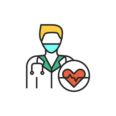 Cardiologist color line icon. Subject matter expert. Pictogram for web page, mobile app, promo. UI UX GUI design element. Editable stroke.