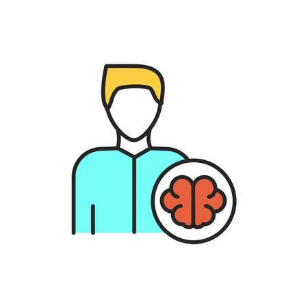Neurologist color line icon. Subject matter expert. Pictogram for web page, mobile app, promo. UI UX GUI design element. Editable stroke.