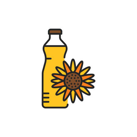 Sunflower oil glass bottle color line icon. Natural, healthy vegetarian food. Pictogram for web page, mobile app, promo. UI UX GUI design element. Editable stroke.