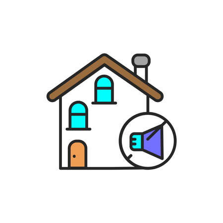 Soundproof house color line icon. Pictogram for web page, mobile app, promo. UI UX GUI design element. Editable stroke.