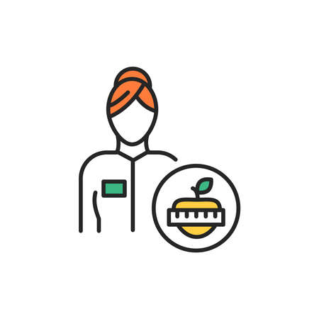 Nutritionist color line icon. Subject matter expert. Pictogram for web page, mobile app, promo. UI UX GUI design element. Editable stroke.