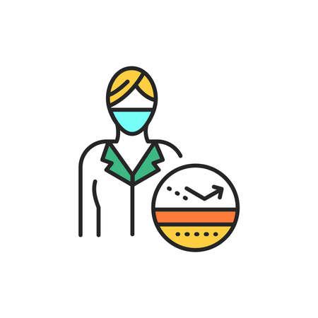 Dermatologist color line icon. Subject matter expert. Pictogram for web page, mobile app, promo. UI UX GUI design element. Editable stroke.