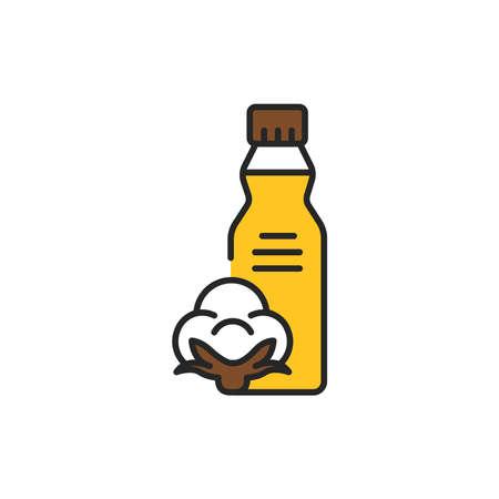 Cottonseed vegetable oil glass bottle color line icon. Natural, healthy vegetarian food. Pictogram for web page, mobile app, promo. UI UX GUI design element. Editable stroke. Ilustrace