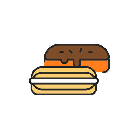 Eclair color line icon. Isolated vector element. Outline pictogram for web page, mobile app, promo Ilustrace