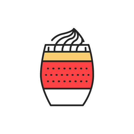 Dessert in glass layered mousse color line icon. Isolated vector element. Outline pictogram for web page, mobile app, promo