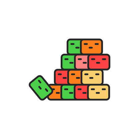 Candied fruit color line icon. Isolated vector element. Outline pictogram for web page, mobile app, promo