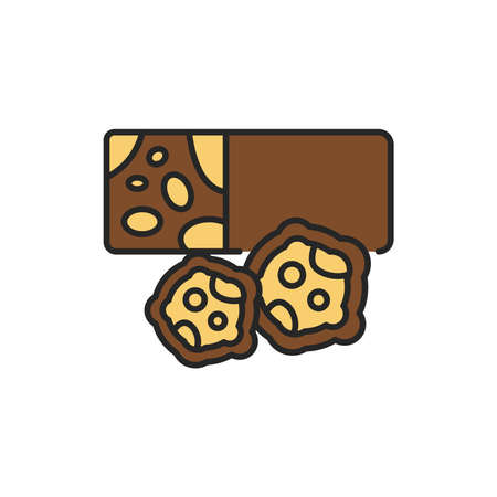 Candied roasted nuts color line icon. Isolated vector element. Outline pictogram for web page, mobile app, promo