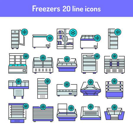 Freezer cold color line icons set. Household equipments. Pictograms for web page, mobile app, promo. UI UX GUI design element. Editable stroke.