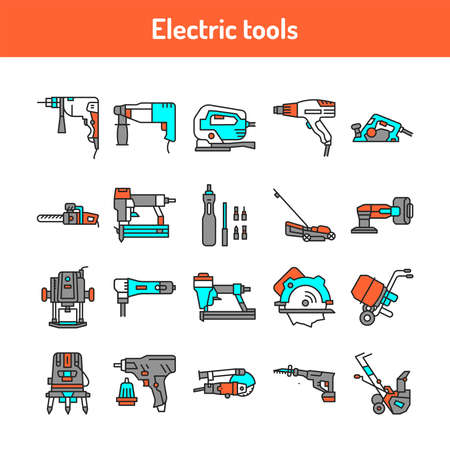 Electric tools color line icons set. Subject matter experts. Pictograms for web page, mobile app, promo. UI UX GUI design element. Editable stroke.