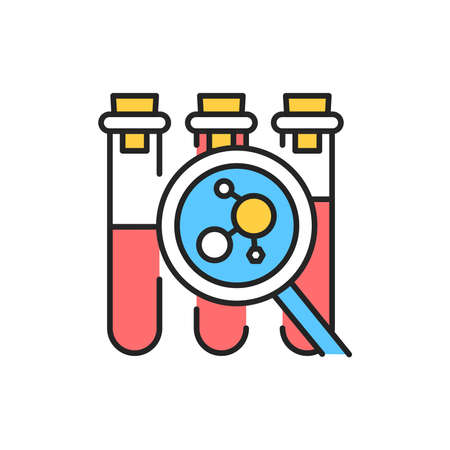 Measuring hormone levels color line icon. Pictogram for web page, mobile app, promo. Editable stroke.