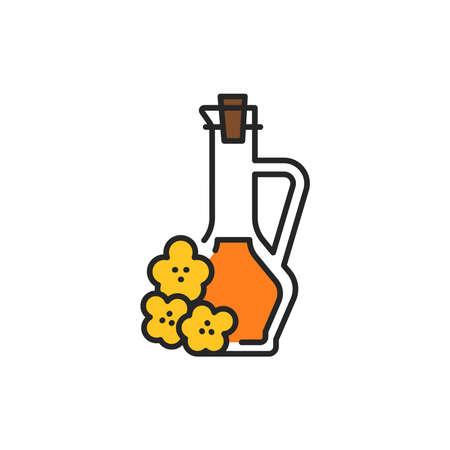 Rape vegetable oil glass bottle color line icon. Natural, healthy vegetarian food. Pictogram for web page, mobile app, promo. UI UX GUI design element. Editable stroke. Ilustrace