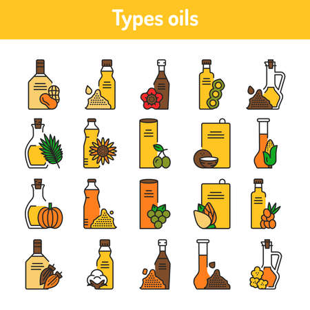 Types oils glass bottles color line icons set. Natural, healthy vegetarian food. Pictograms for web page, mobile app, promo. UI UX GUI design element. Editable stroke.