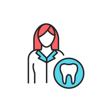 Doctor dentist color line icon. Pictogram for web page, mobile app, promo. Editable stroke.