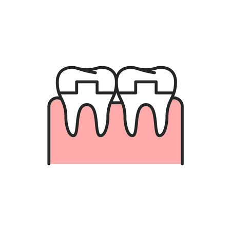 Crowned teeth color line icon. Pictogram for web page, mobile app, promo. Editable stroke.