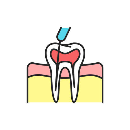Teeth canal treatment color line icon. Pictogram for web page, mobile app, promo. Editable stroke.